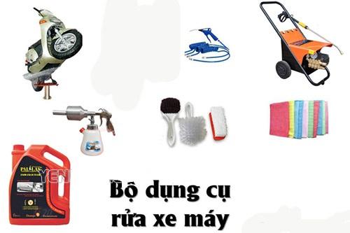 Dụng cụ rửa xe máy tại nhà bao gồm những gì?