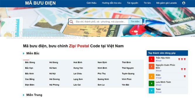 tra cứu mã bưu điện